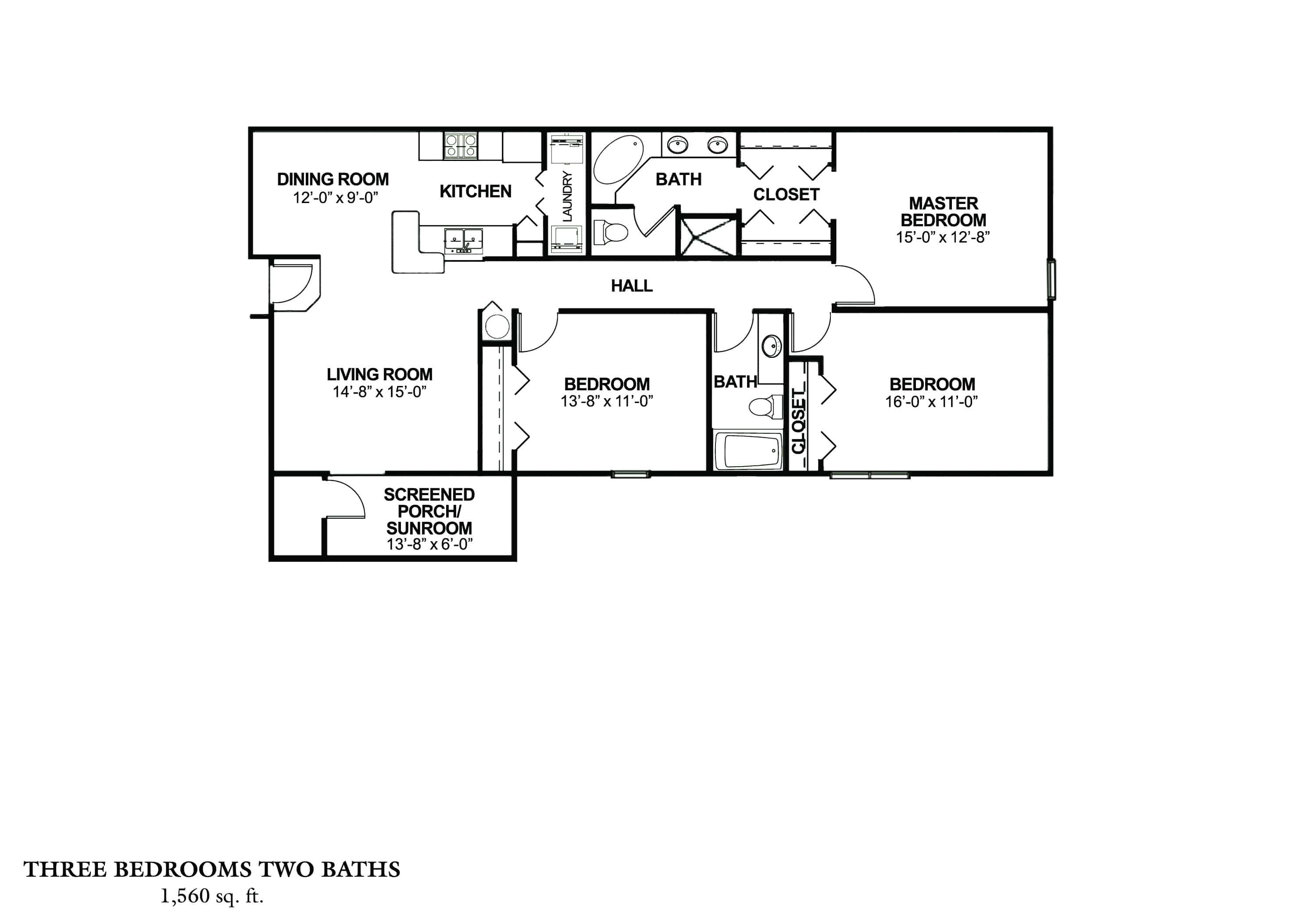 Three Bedroom - Phase I Approx. 1,560 sq. ft. Rent From $1,000 - $1,135 Beds 3 Baths 2