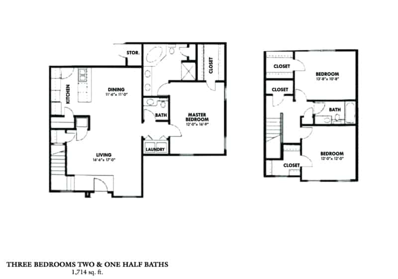 Greystone Properties Columbus, GA Apartments three bedroom two and one half baths town house
