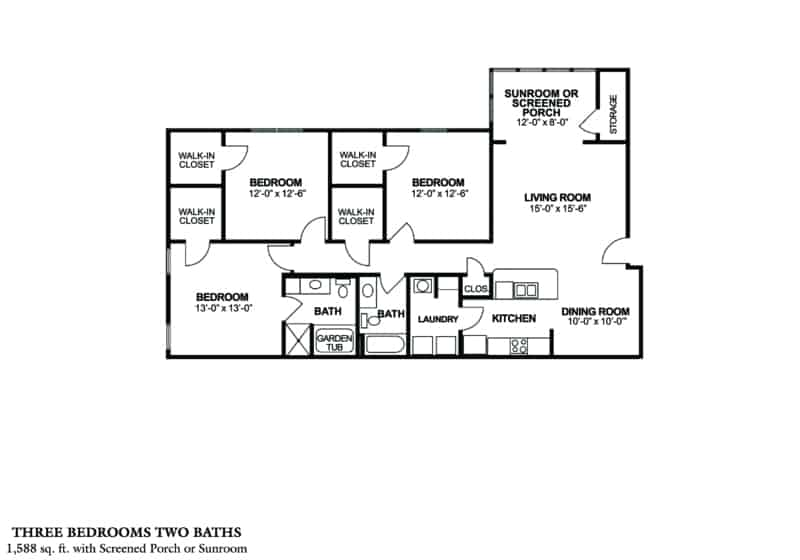 Greystone Properties Columbus GA Apartments three bedroom 1588 sq. ft. floor plans