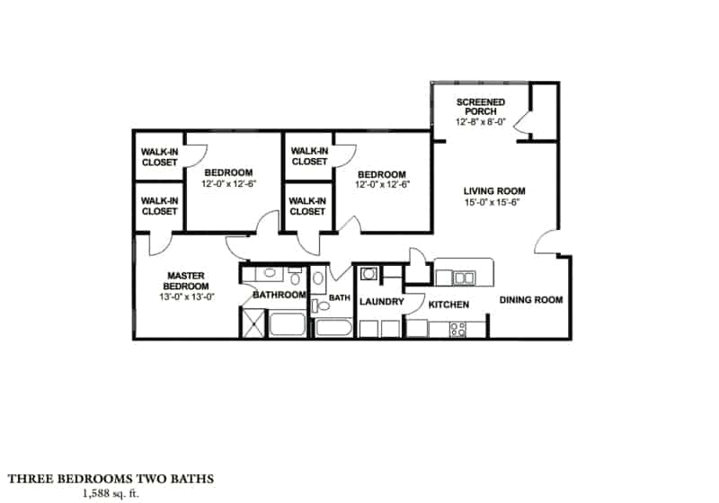 Greystone's Columbus Georgia Apartments three bedroom plan with two baths