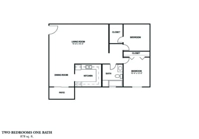 TWO BEDROOM (A) Approx. 878 sq. ft. Rent From $695 - $860 2 Beds 1 Bath