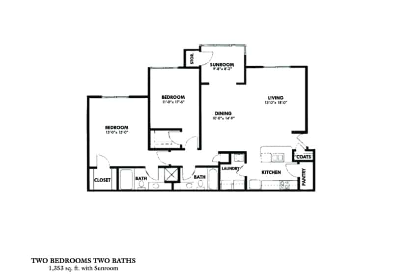 Two Bedroom (A) Approx. 1,353 sq. ft. Beds 2 Baths 2 Greystone Properties Columbus, GA Apartments