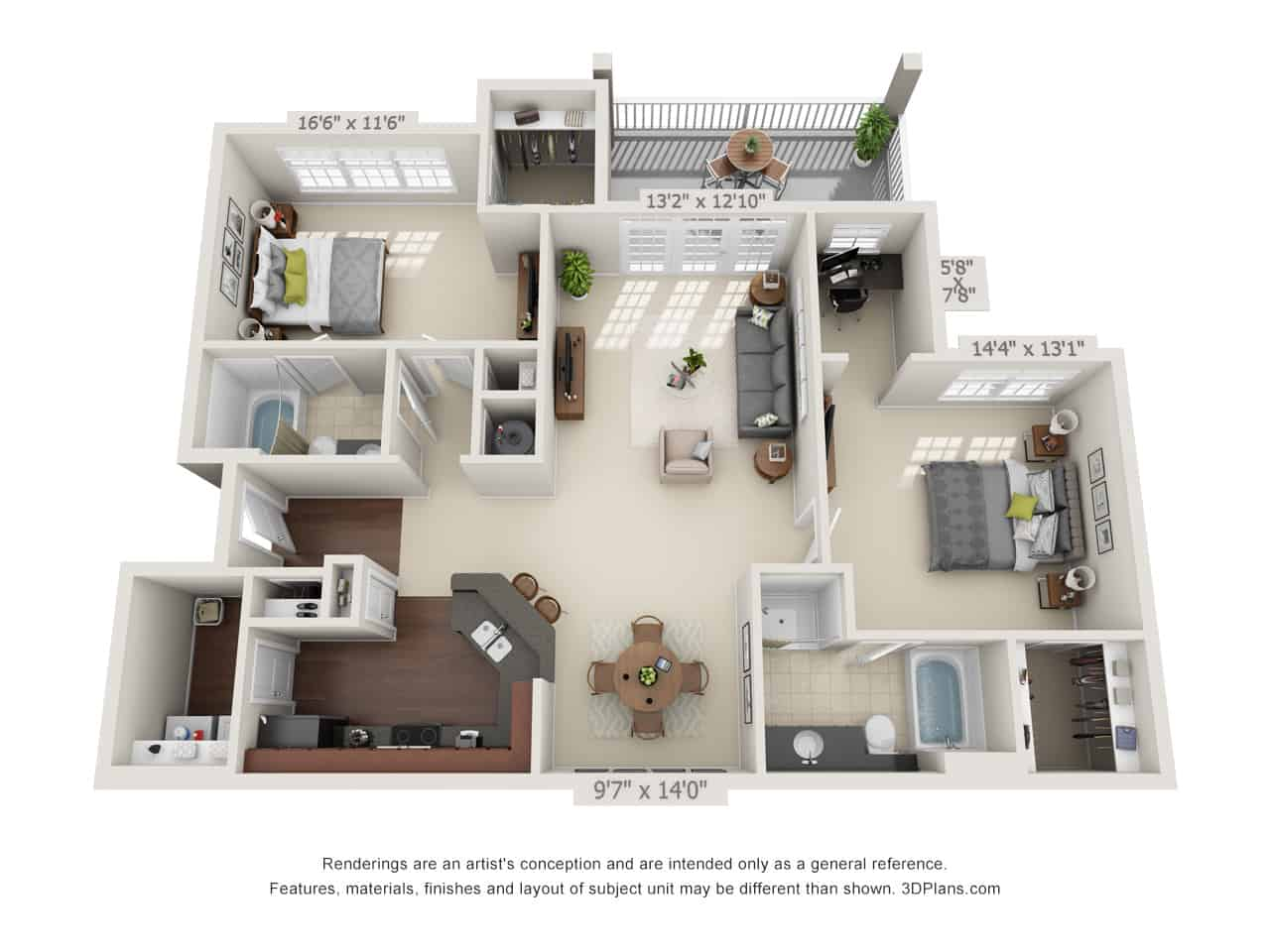 Two Bedroom (B) Approx. 1,311 sq. ft. with 152 sq. ft. Deck Rent From $1,375 Beds 2 Baths 2