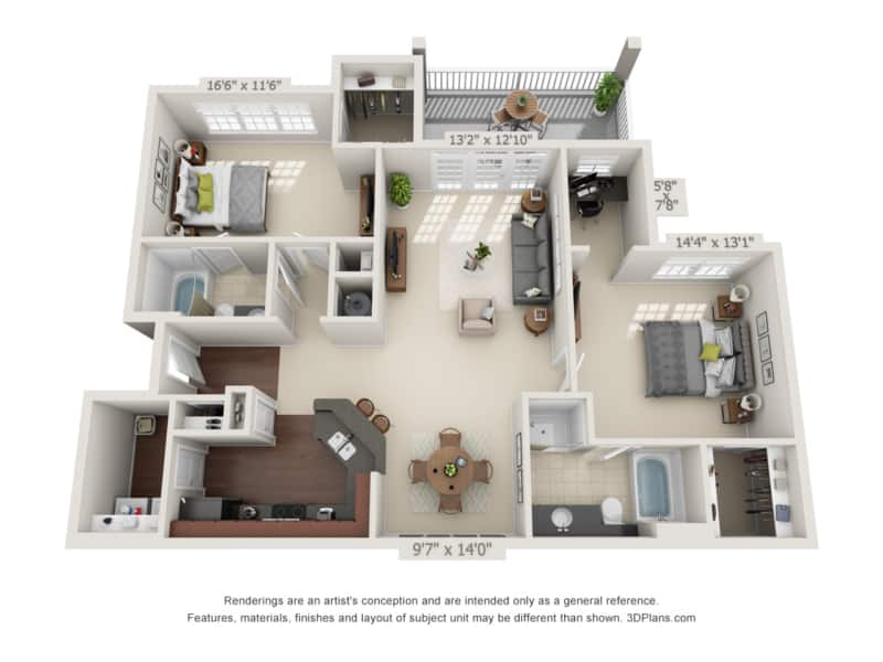 Two Bedroom (B) Approx. 1,311 sq. ft. with 152 sq. ft. Deck Rent From $1,165 Beds 2 Baths 2