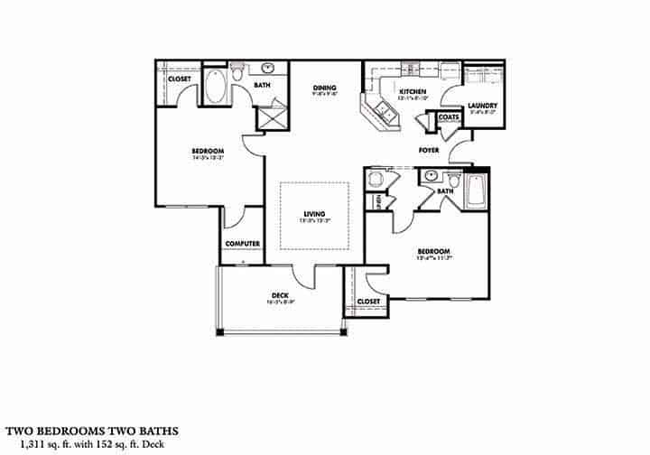 Two Bedroom (B) - Phase II Approx. 1,311 sq. ft. with 152 sq. ft. Deck Beds 2 Baths in Greystone's Columbus GA Apartments