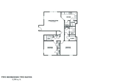 TWO BEDROOM (B) Approx. 1250 sq. ft. Rent From $835 - $930 Beds 2 Baths 2