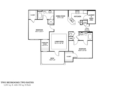 Greystone Properties Columbus, GA Apartments two bedroom with deck