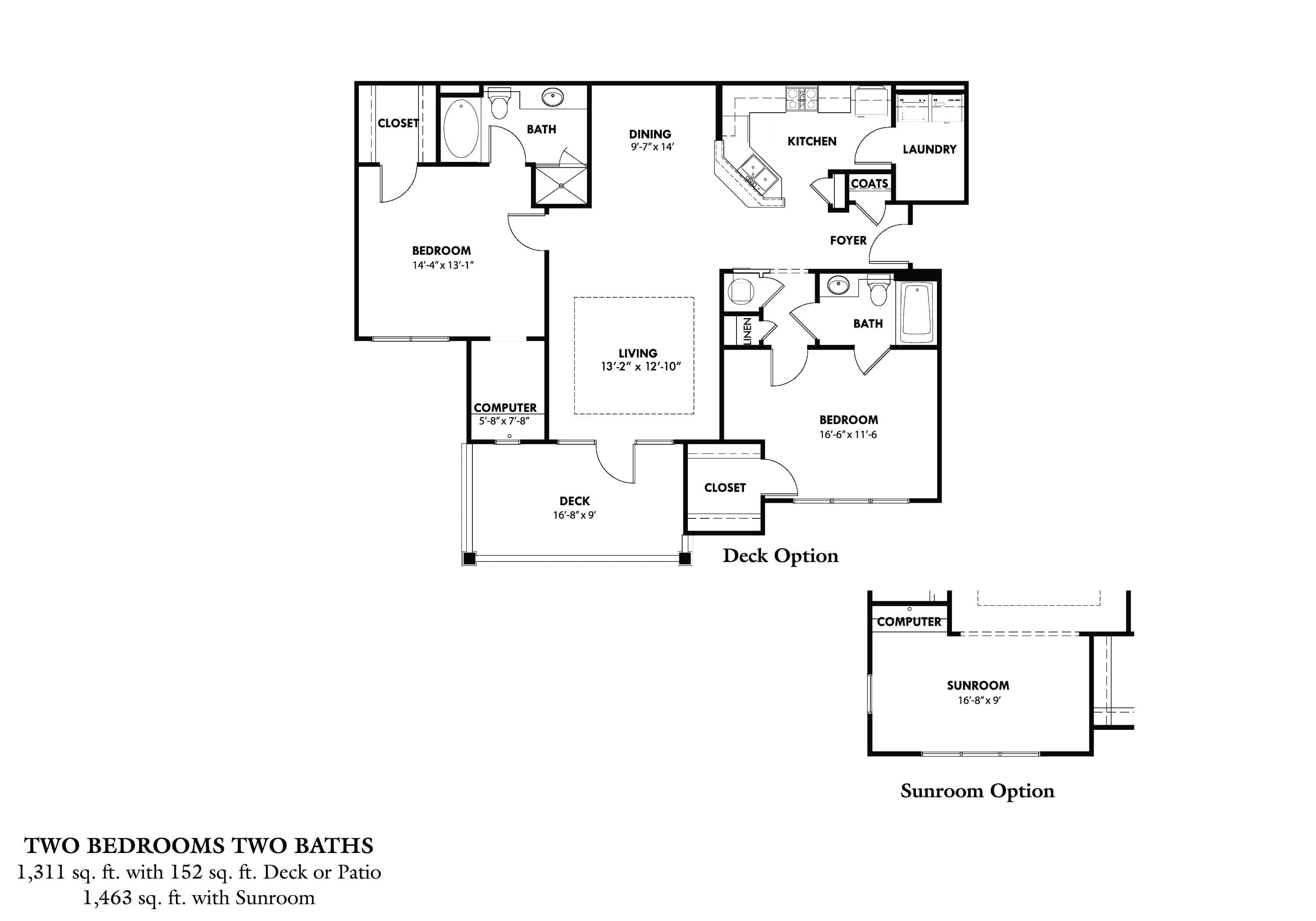 Two Bedroom (B) Approx. 1,311 sq. ft. with 152 sq. ft. Deck Rent From $1,030 Beds 2 Baths 2