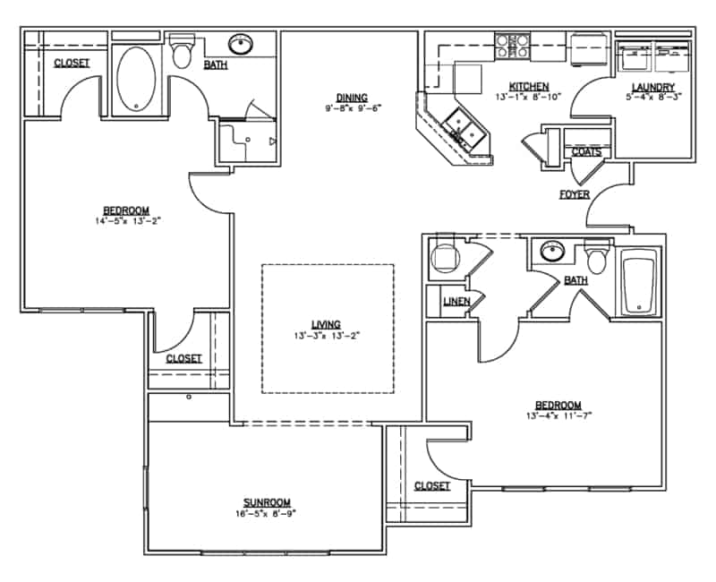 The other two bedroom two bath floor plan