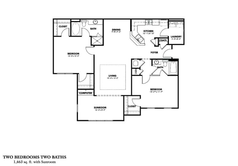 Greystone Properties Columbus, GA two bedroom with sunroom floor plan.