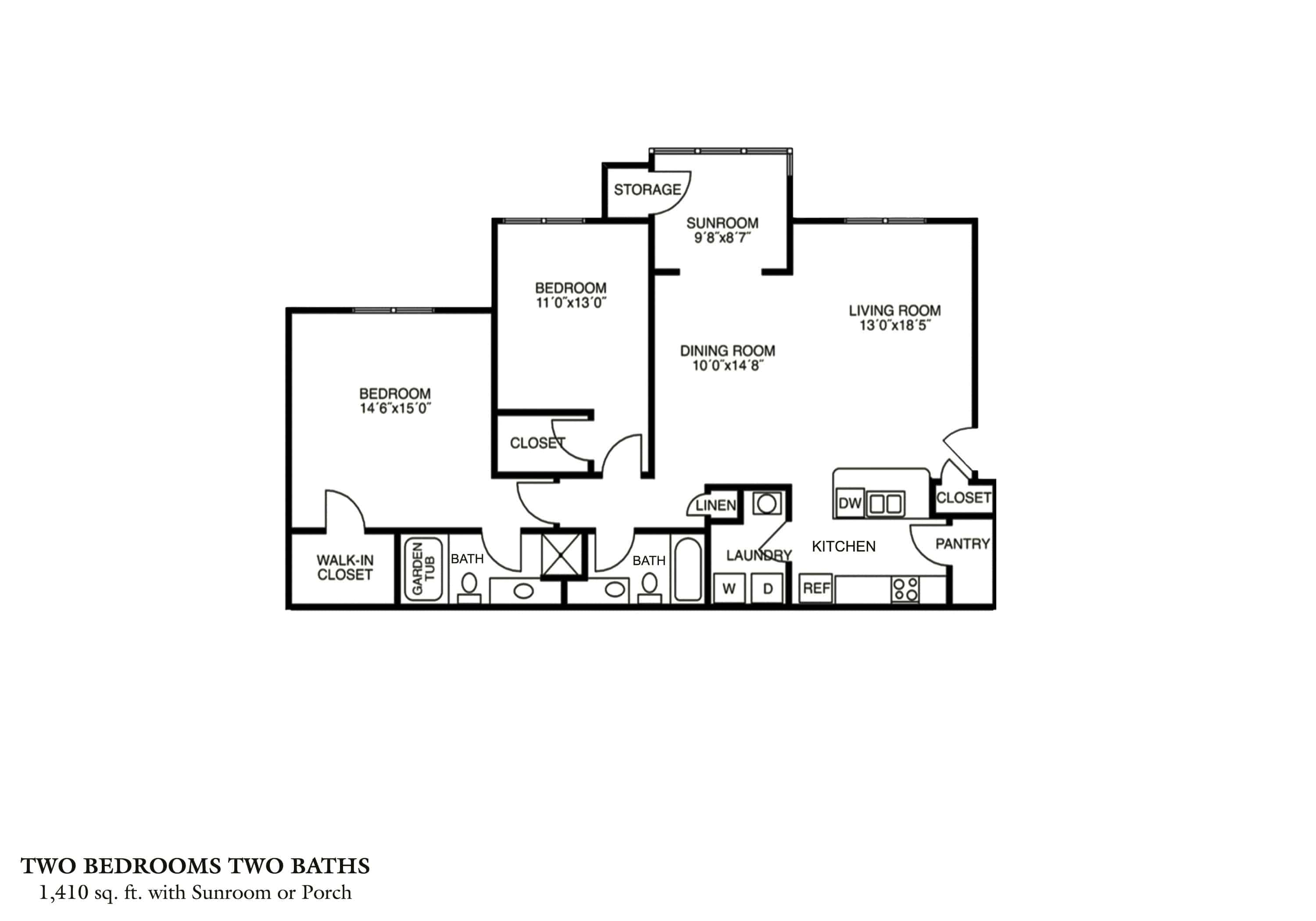 Greystone Properties Columbus, GA Apartments Two Bedroom - Phase I & Phase II Approx. 1,410 sq. ft. Beds 2 Baths 2