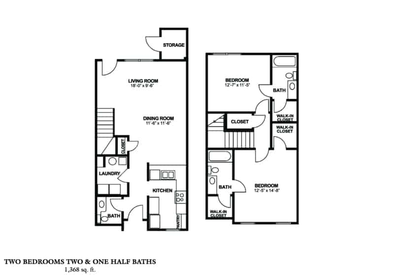 Two Bedroom Townhome (A) Approx. 1,368 sq. ft. Beds 2 Baths 2.5