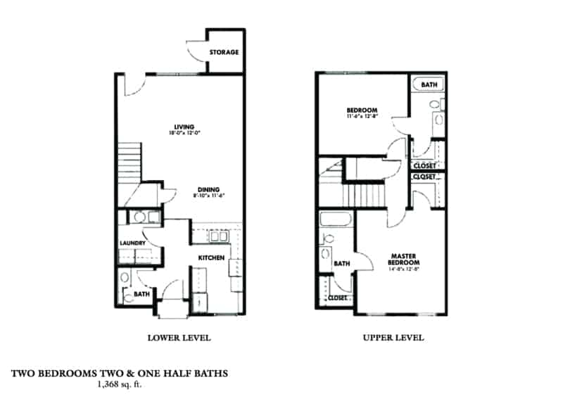 Two Bedroom Townhouse (A) Approx. 1,368 sq. ft. Beds 2 Baths 2 at The Woodlands corporate stat in columbus, ga