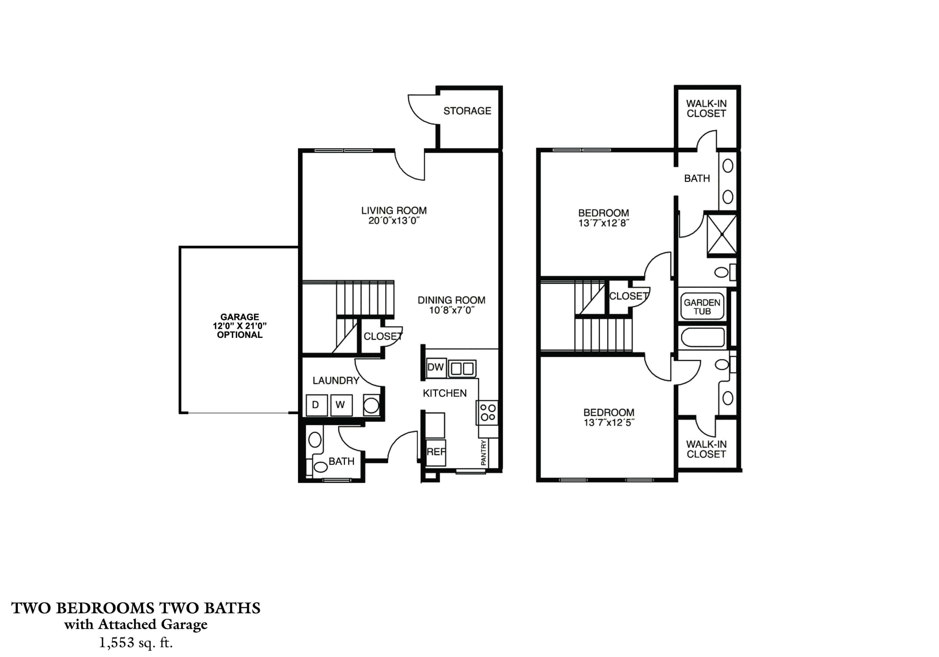 Greystone Properties Columbus, GA Apartments Two Bedroom Townhomes - PHASE I & PHASE II Approx. 1,553 sq. ft. Beds 2 Baths 2.5