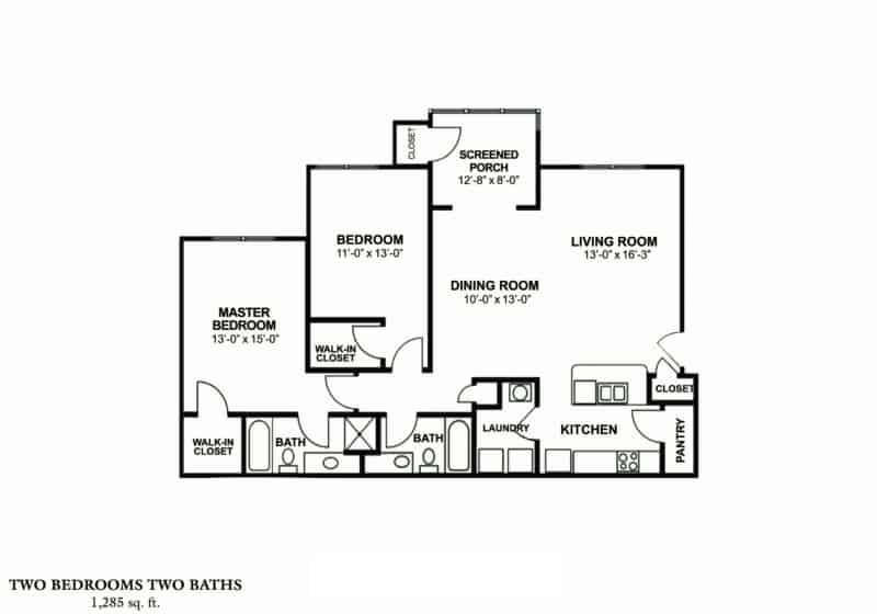 Greystone's Columbus Georgia Apartments two bedroom two bath floor plan