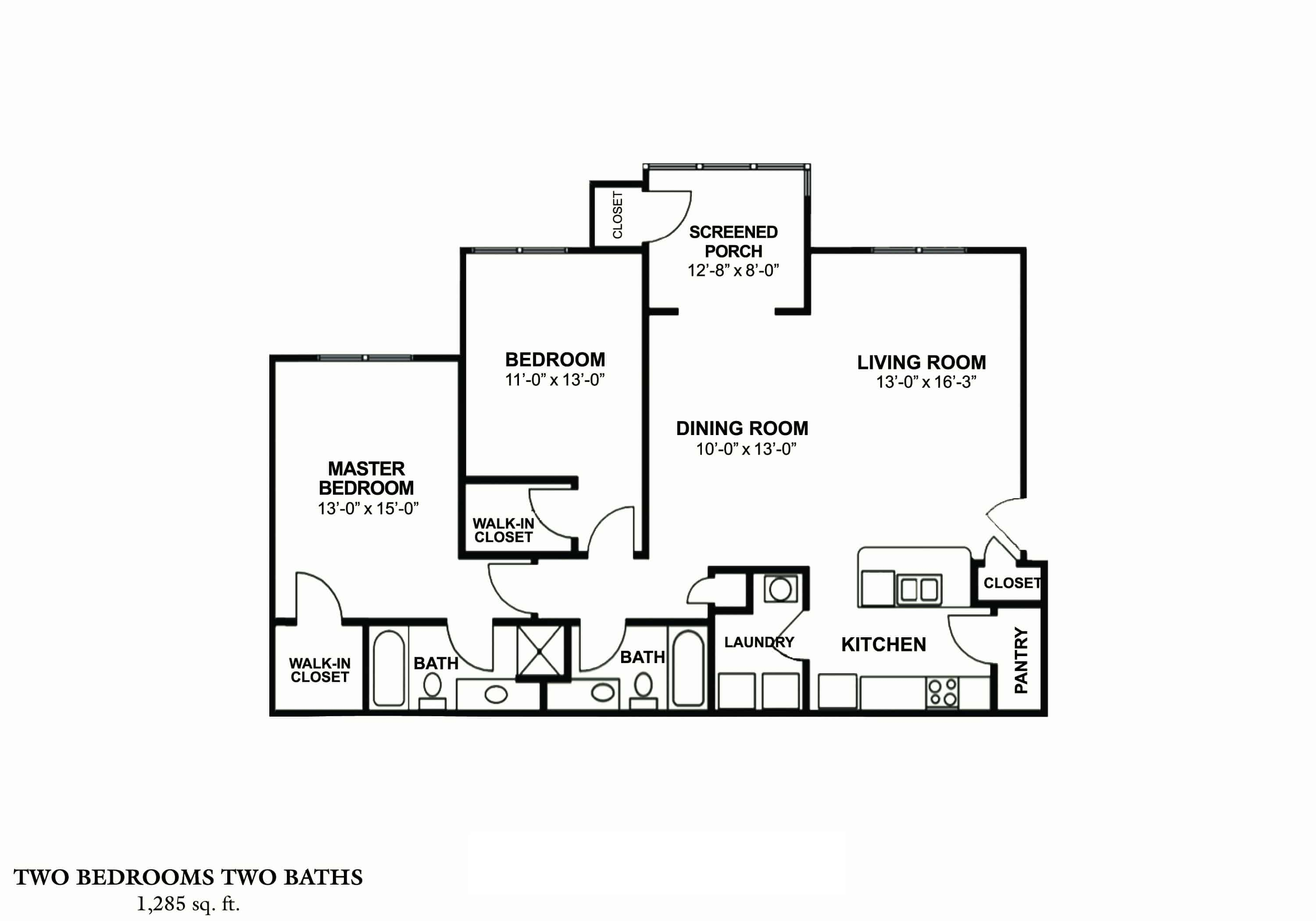 Greystone's Columbus Georgia Apartments two bedroom two bath floor plan