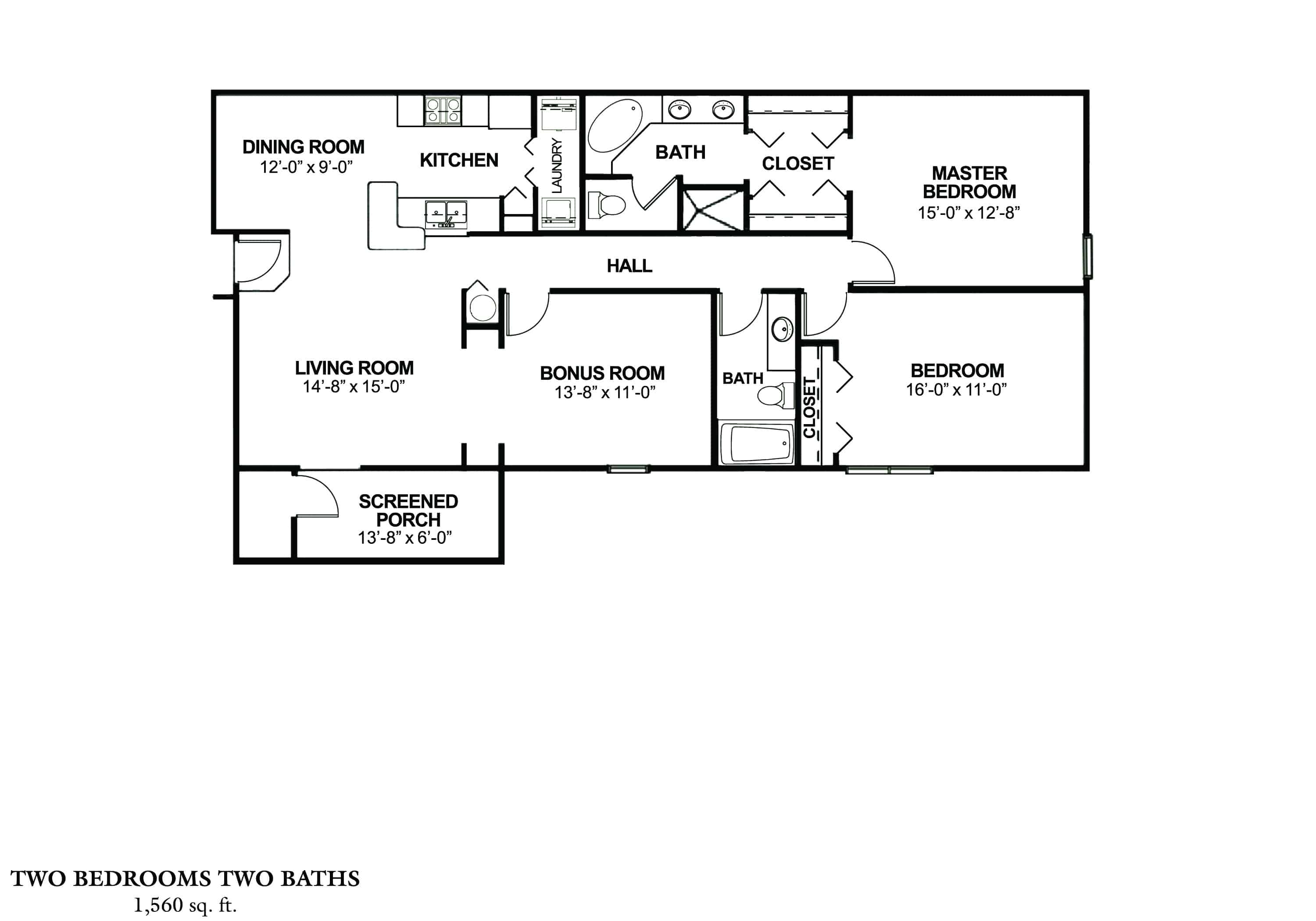 Two Bedroom, Two Bath with Bonus Room - Phase I Approx. 1,560 sq. ft. with 152 sq. ft. Rent From $975 - $1,010 Beds 2 Baths 2