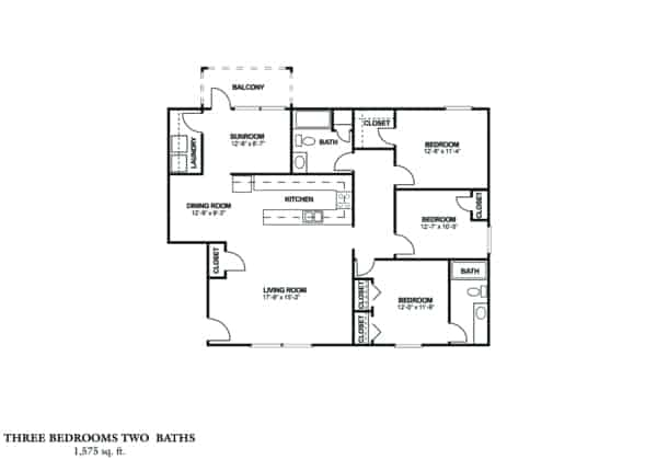 THREE BEDROOM - WATERFORD 1575 sq. ft. Rent From $930 Beds 3 Baths 2