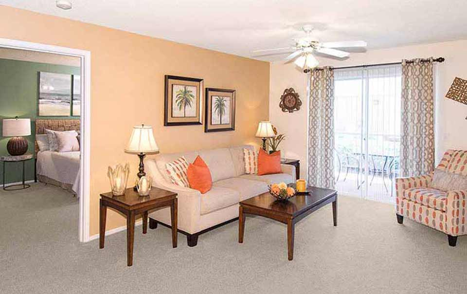 greystone properties gulf breeze reserve apartments view of living bed and porches