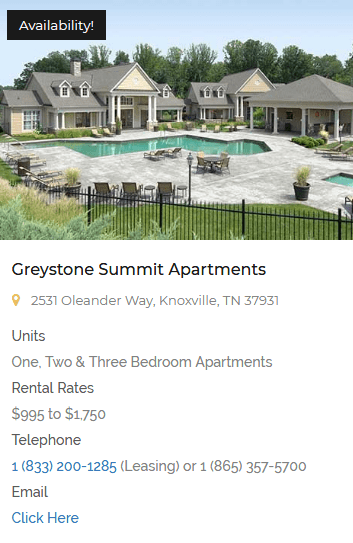 Greystone Properties Summit Apartment Homes Knoxville, TN